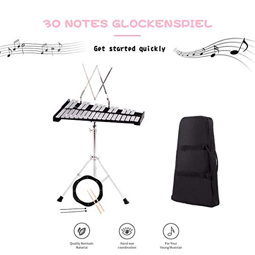 Giantex Percussion Glockenspiel Xylophone Bell Kit 30 Notes w/Practice Pad, Adjustable Height Stand, Bell Mallets, Wooden Sticks, Music Stand, Carrying Bag