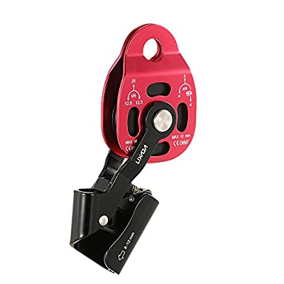 Lixada 25kN Hauling Pulley 8-12MM Rock Climbing Rescue Ascender with Cam Process Capture Rope Slackline Aerial Rescue Protection