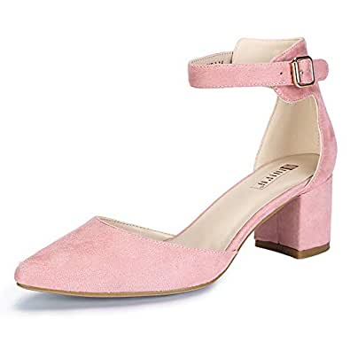 IDIFU Women's IN2 Pedazo-C Mid Chunky Heels Closed Pointed Toe Ankle Strap D'Orsay Pumps Low Block Heel Comfortable Dress Sandals Shoes Pink Size: 5