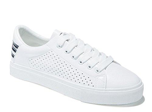 SHFANG Señora Zapatos Simple Pequeño blanco Zapatos Plano Fondo Ocio Movimiento Estudiantes Escuela Corriendo Blanco Black