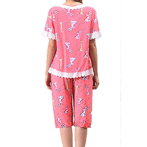 YUYU Mujeres Verano Algodón Pijamas Manga corta Camisón Servicios en el hogar Dos colores Camisón , watermelon red , xl