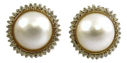 (Mabe 11.7 mm White Pearl Earrings with 14k Yellow Gold and Diamonds 0.54ct )