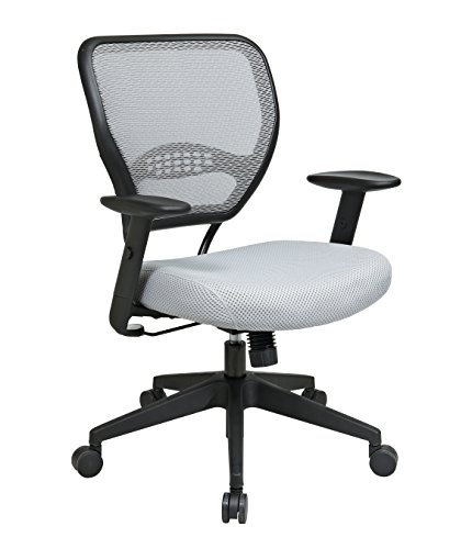 SPACE Seating AirGrid Back and Padded Mesh Seat, 2-to-1 Synchro Tilt Control, Adjustable Arms, Nylon Base Managers Chair, Shadow ()