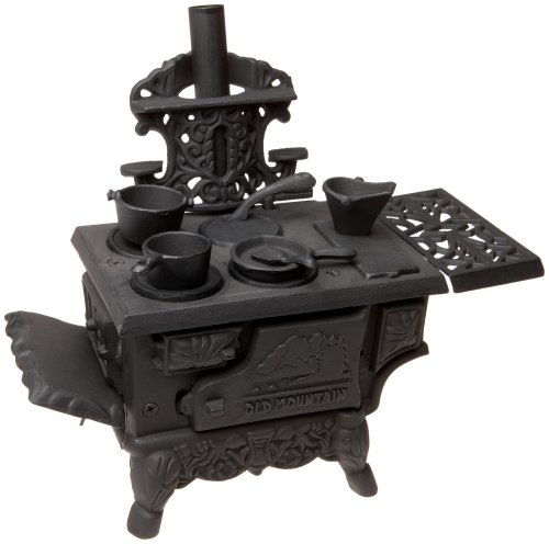 - Black Mini Wood Cook Stove Set - 12 Inches Long With Accessories