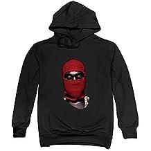 DF Mens Yeezus Tour Red Ski Mask Kanye West Hoodie Black