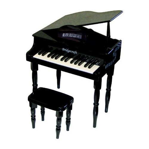 Toddler Baby Grand Piano - Kid's Black 30-Key Baby Grand Piano with Bench