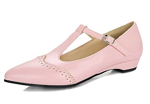 AmoonyFashion Women's Soft Material Closed-Toe Low-Heels Buckle Pumps-Shoes, Pink, 40 -