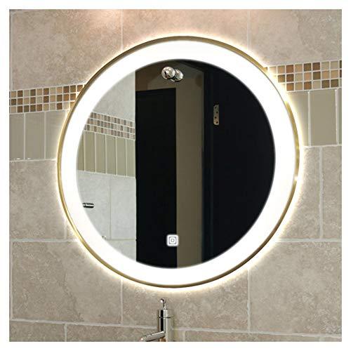 Bathroom Mirror, LED Round Makeup Mirror, Aluminum Alloy Bathroom Mirror, Vanity Touch -