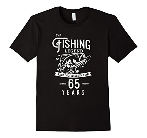 Mens Fishing Legend 65 Years Old Birthday Gift for Fisherman XL Black