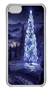 Blue light Christmas Tree Polycarbonate Hard Case Cover for iPhone 5/5S Transparent