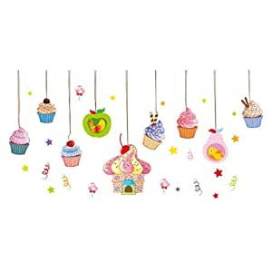 Ice Cream House Stars Lollipop Apple Pear Birdcage with Birds Art Sticker for Kids Room Decor
