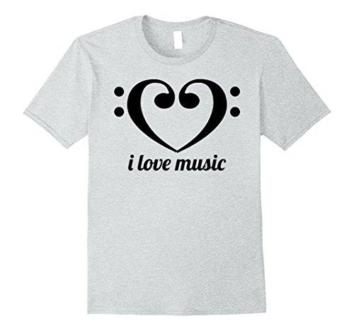 Mens I Love Music Heart Shaped Bass Clefs T-Shirt Love that Bass XL Heather Grey