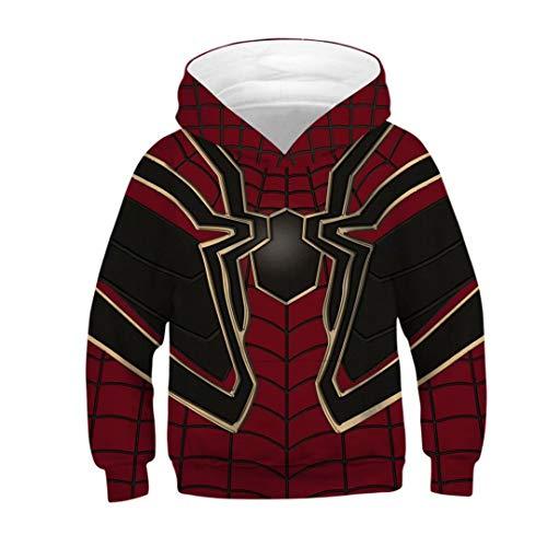 (Toddler Kids Boys Spider Verse Miles Morales Costume 3D Print Hoodie Tops)