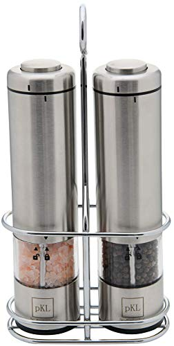 Battery Tray Set - Pro Kitchen Life Battery Operated Salt and Pepper Electric Grinder Set - Pack of 2 - Durable Stainless Steel with Holder Tray - Adjustable Ceramic Coarseness with LED Light and Caps at Bottom