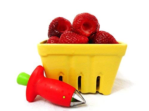 Ceramic Berry Produce Basket and Strawberry Huller Bundle Set of 2 ()