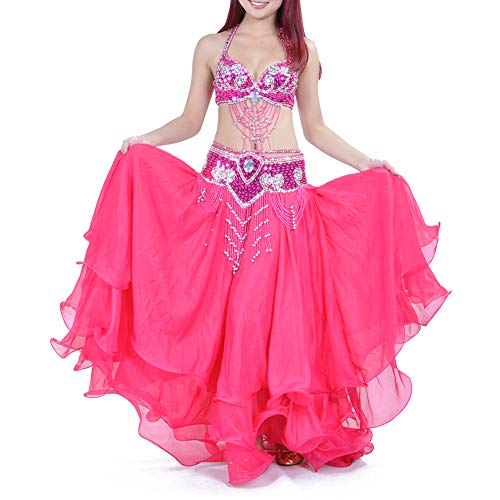 BellyLady Belly Dance Skirt Halloween Tribal Chiffon Tiered Maxi Full Skirt-Rosered (Size Dance Pants Belly Plus)