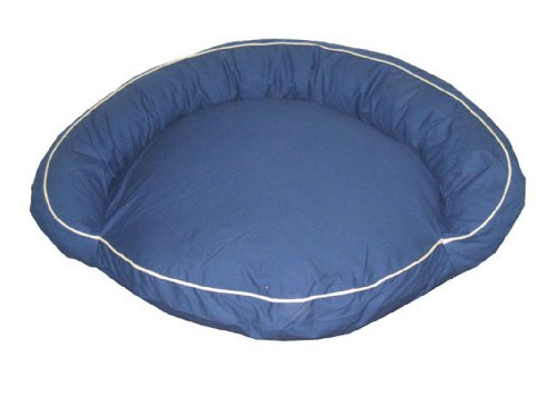 Carolina Bolster Pet Bed - CPC Classic 42-Inch Twill Bolster Bed with Contrast Cording, Blue