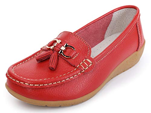 Chart Folios - labato Womens Leather Casual Loafers Slip-ONS Driving Flats Shoes (red-2,8 B(M) US)