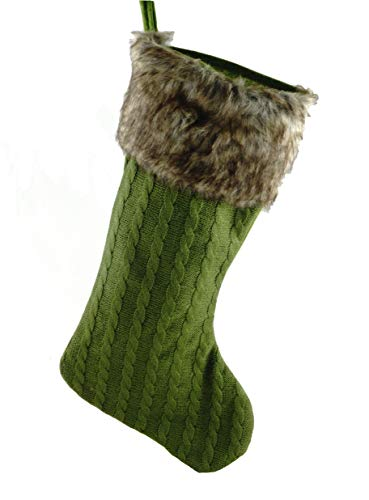 (Cable Knit Fabric Holiday Stocking with Fur Cuff (Green))