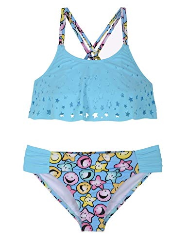 Firpearl Girl's Two Piece Swimsuit Floral Bikini Set Flounce Bathing Suit Laser Cutout Blue Smiley Face L]()