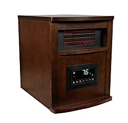 LifeSmart 6 Element Quartz w/Wood Cabinet and Remote Large Room Infrared Heater, Brown