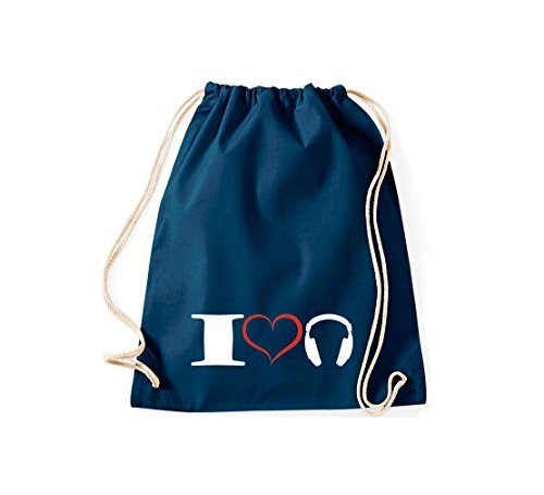 Shirtstown Bolsa de gimnasio Música I love Auriculares auriculares Azul
