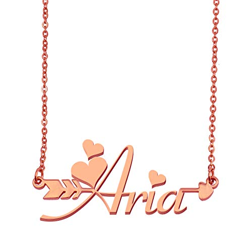 Aoloshow Customized Custom Name Necklace Personalized - Custom Aria Initial Plated Handwriting Nameplate Necklace Gift for Womens Girls