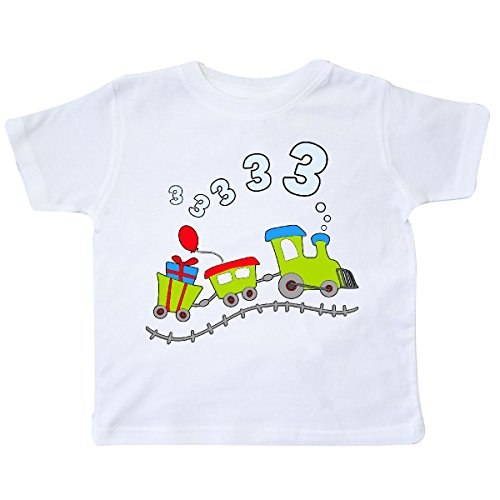 inktastic - 3rd Birthday Party Train Toddler T-Shirt 3T White 285d4