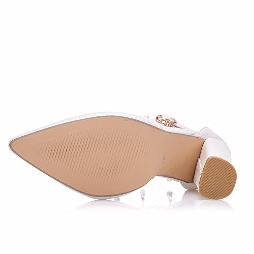 Mujer Fornido Alto Talones Blanco Zapatillas Boda Zapatos Para Novia Señoras Tobillo Correa Sandalias Corte Diamante De Imitación Perla Nupcial Zapatos Fiesta Vestir Tamaño 36-41,White,EUR40/UK8