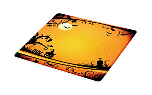 Lunarable Vintage Halloween Cutting Board, Halloween Themed Image Eerie Atmosphere Gravestone Evil Pumpkin Moon, Decorative Tempered Glass Cutting and Serving Board, Small Size, Orange Black -