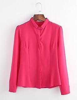 PU&PU Chemise Femme,Couleur Pleine Travail Grandes Tailles Simple Printemps Manches Longues Col de Chemise Bleu Rose Rouge Blanc Polyester Moyen Jolie