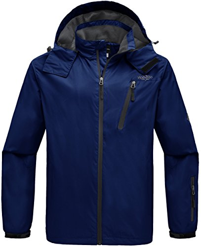 Wantdo Men's Zipper Raincoat Outdoor Windproof Wind Breaker Packable Jacket for Hiking Blue S