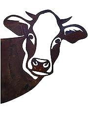 Peeping Cow - Cow Wall Decor Farm Peeping Cattle Metal Art Garden Ornaments
