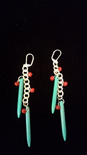 Turquoise Sticks with Genuine Ruby Rondelles Earrings