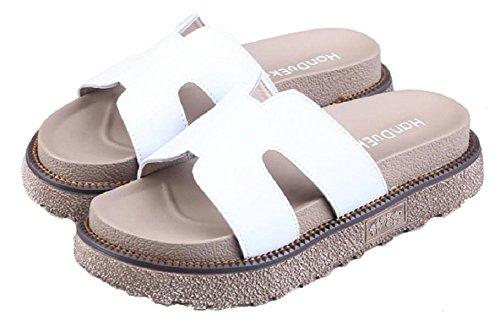 Kvinna Läder Platta Tofflor Mode Casual Strand Sandal Med Jiye Vit