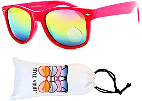 KD04-vp Kids Child (2-10yr Old) Wayfarer 80s Sunglasses (S1760V Pink-Rainbow Mirror, smoked)