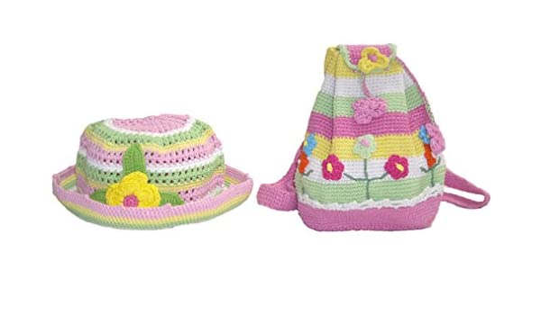 snuggleheads Girls Flower Garden Bucket Hat and Backpack Set 2-5 Year