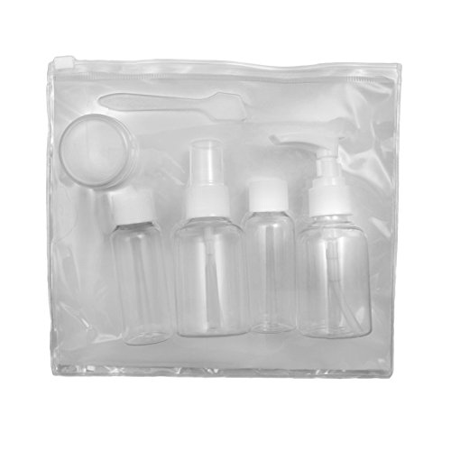 6 piece flight transparent cosmetic bag & containers airline compliant