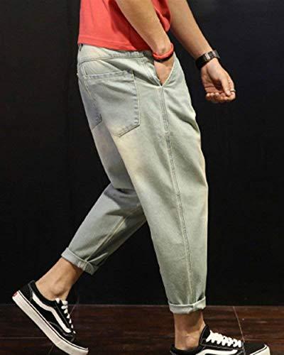 Pantaloni Di Design Da Hellblau Harem Fit Casual Slim Normali Basic Jeans Uomo Targogo BdxqTB