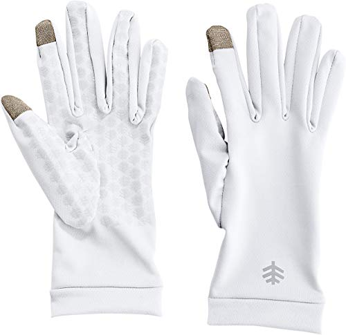 Coolibar UPF 50+ Unisex UV Gloves - Sun Protective (Medium- White)