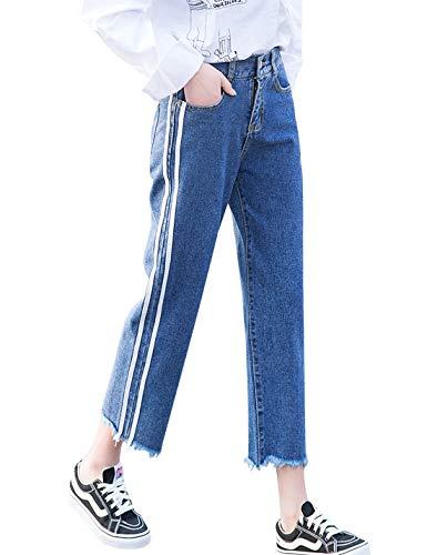 Gihuo Women's Distressed Elastic Waist Jeans Wide Leg Cropped Denim Pants (Dark Blue, Large) - Ltd Denim Pant