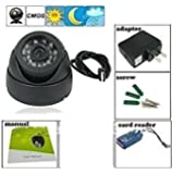 FINICKY-WORLD CCTV Dome 24 IR Night Vision Camera DVR with Memory Card Slot Recording (USB), Black