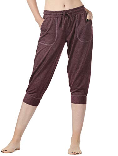 icyzone Women's French Terry Jogger Lounge Sweatpants - Active Capri Pants for Women (XL, - Terry French Capri