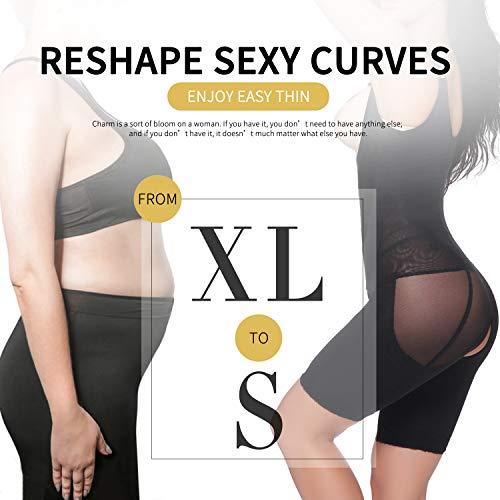 feea6d70e9129 Vaslanda Women Open Bust Full Body Shaper Mid Thigh Bodysuit Tummy Control  Underbust Shapewear