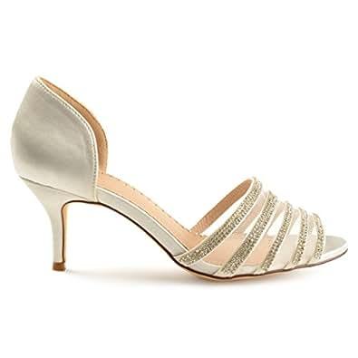 Brinley Co Womens Heels White Size: 5.5