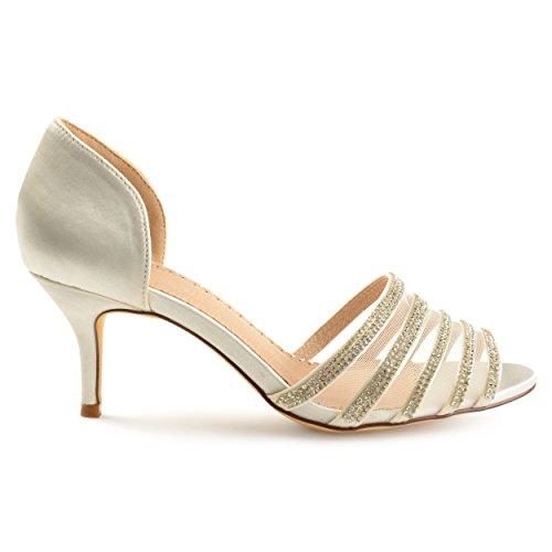 Satin White Heels Rhinestone D'Orsay Toe Salem Co Womens High Peep Brinley wzqAtvU1v