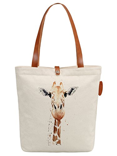 IN.RHAN Women's Giraffe Illustration Canvas Handbag Tote Bag Shoulder Bag