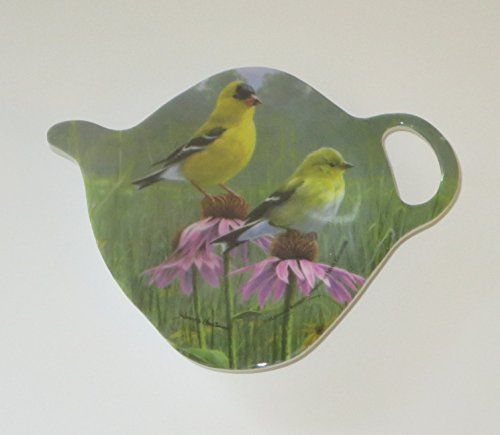Ashdene Goldfinch Birds Tea Bag Holder Teapot Shape Melamine ()