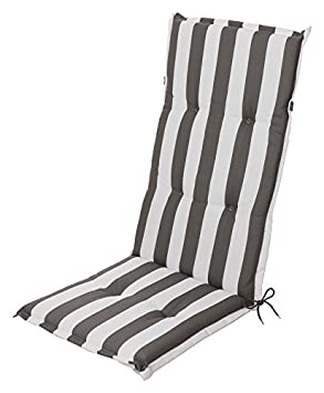 Garden Chair Cushion Seat Pad Cushion For High Backed Chair Block Stripes In Anthracite White