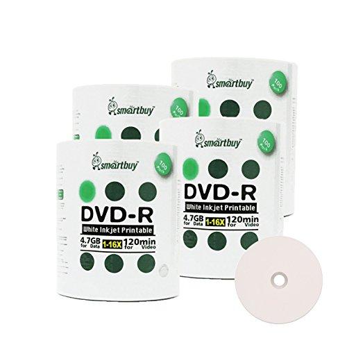 Smart Buy 400 Pack DVD-R 4.7gb 16x White Printable Inkjet Blank Media Record Disc, 400 Disc 400pk